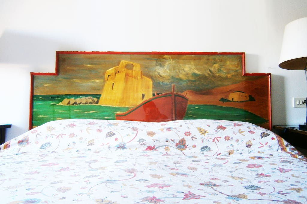 The headboard of the bed