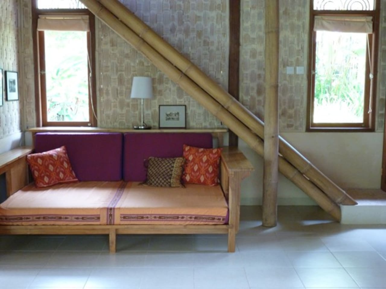 Ubud Contemporary Eco Bali Lumbung - teak and bamboo custom made sofa bed