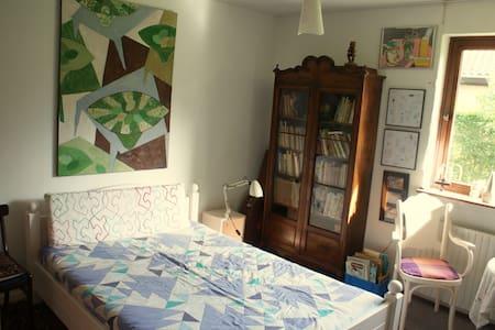 Sjovt værelse med kunst på væggene  - House