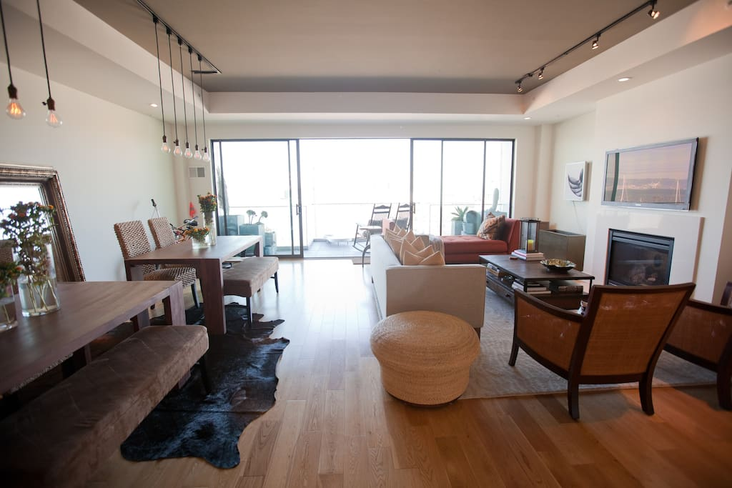 Open plan living and dining space. Views of the bay.