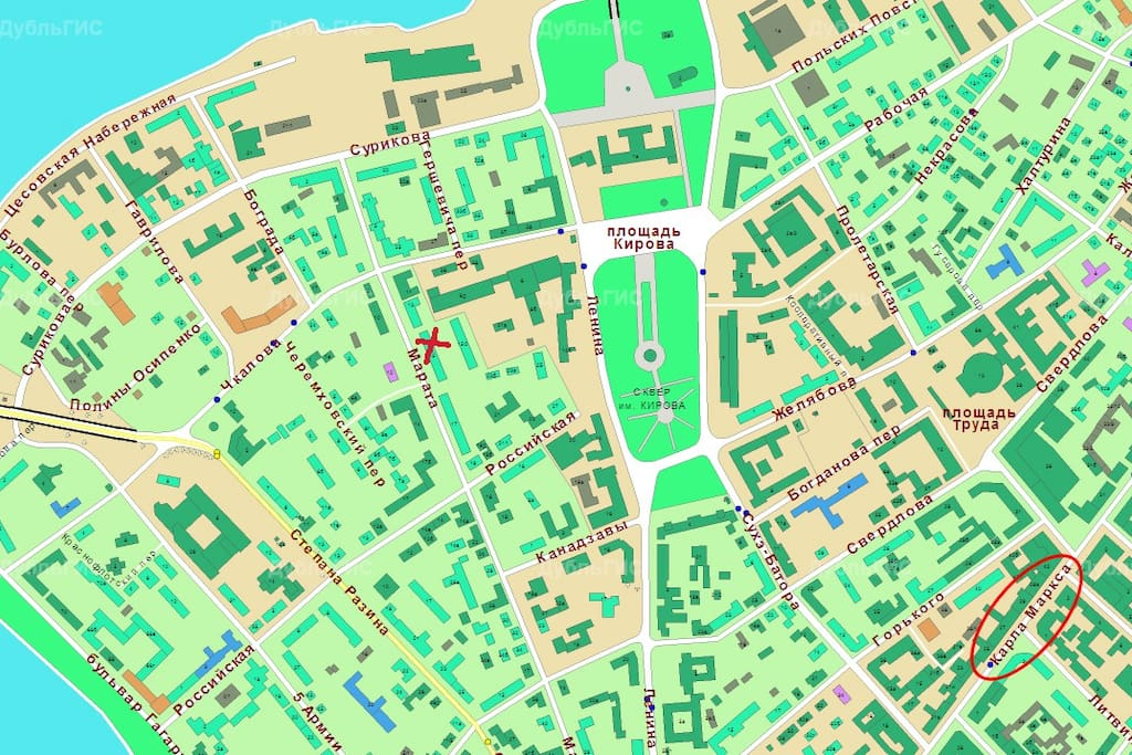 location is marked with a red cross