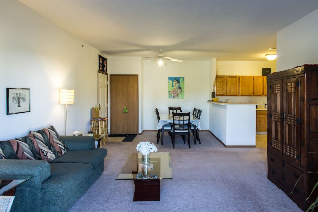 This common area has an open concept kitchen,dining and living room space with plenty of space to relax and entertain.