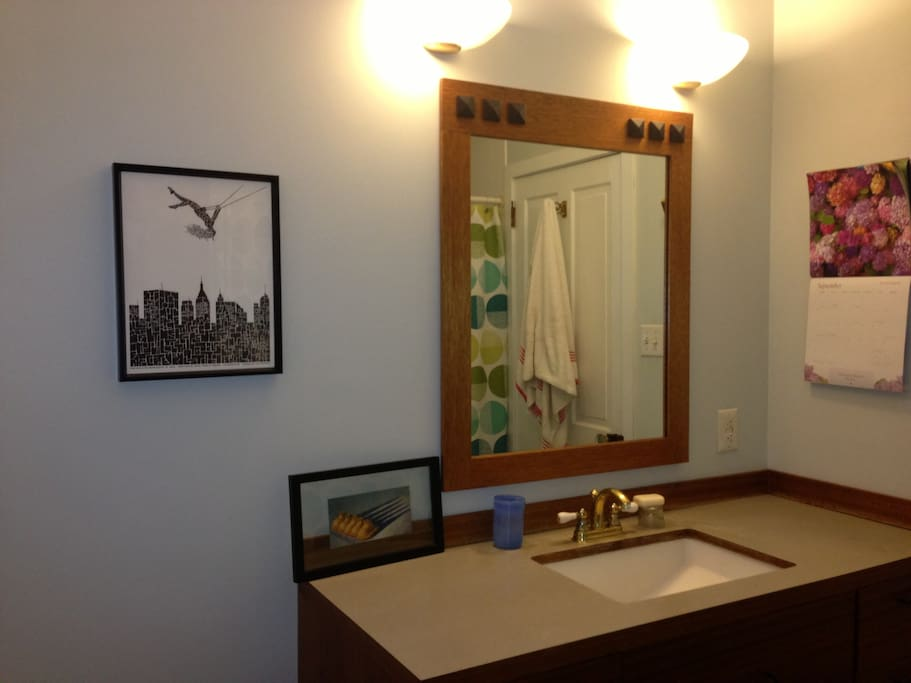 Spacious full bathroom adjacent to guest room at the back of the house.