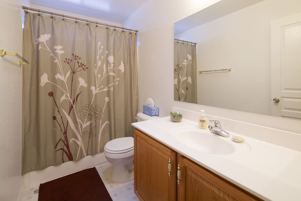 The guest bathroom is just outside of the bedrooms. Hairdryer stored under the sink.