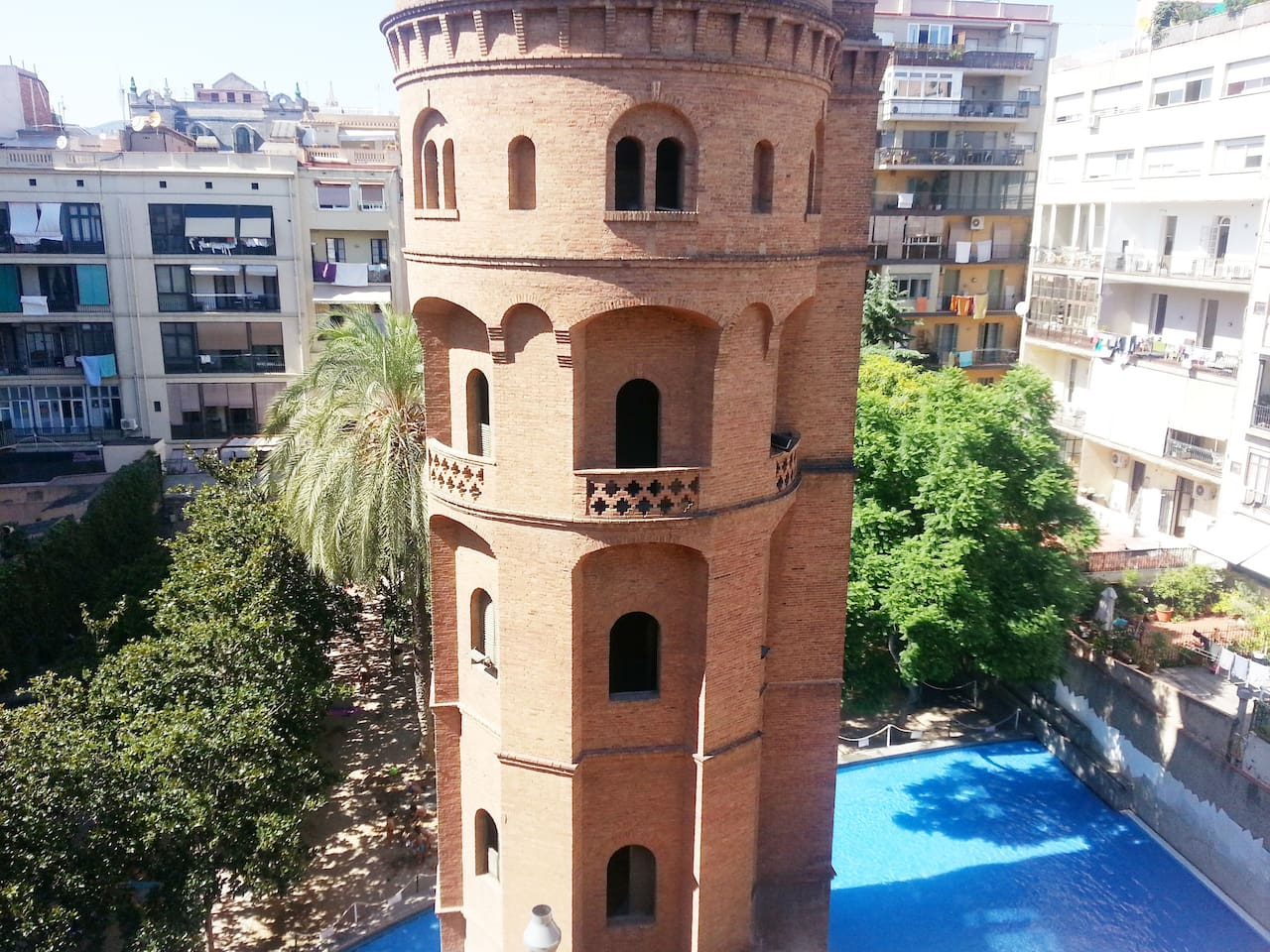 View of an old water tower from your apartment