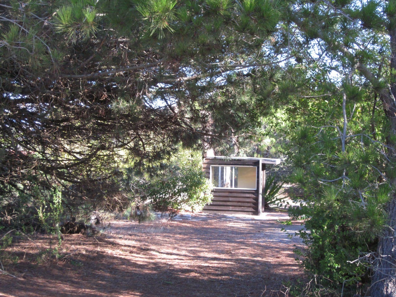 The guesthouse is in a quiet, secluded neighborhood, surrounded by oaks and chaparal.