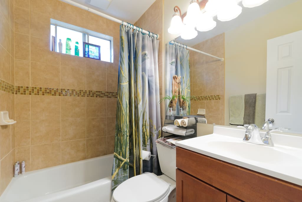 Bath or shower, your choice, in the newly renovated bathroom.