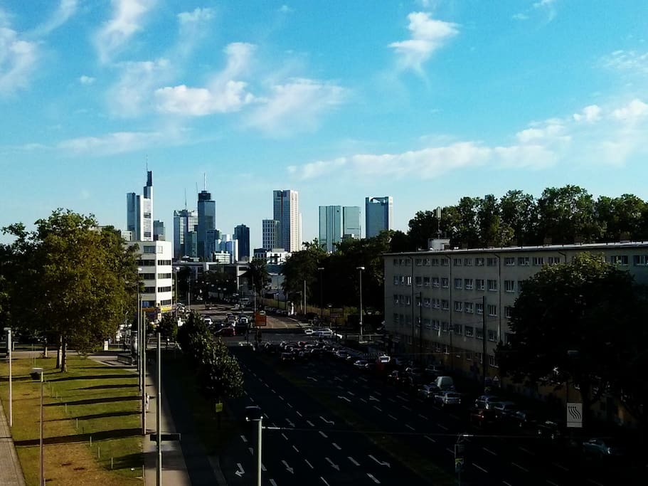 View on the skyline from balcony