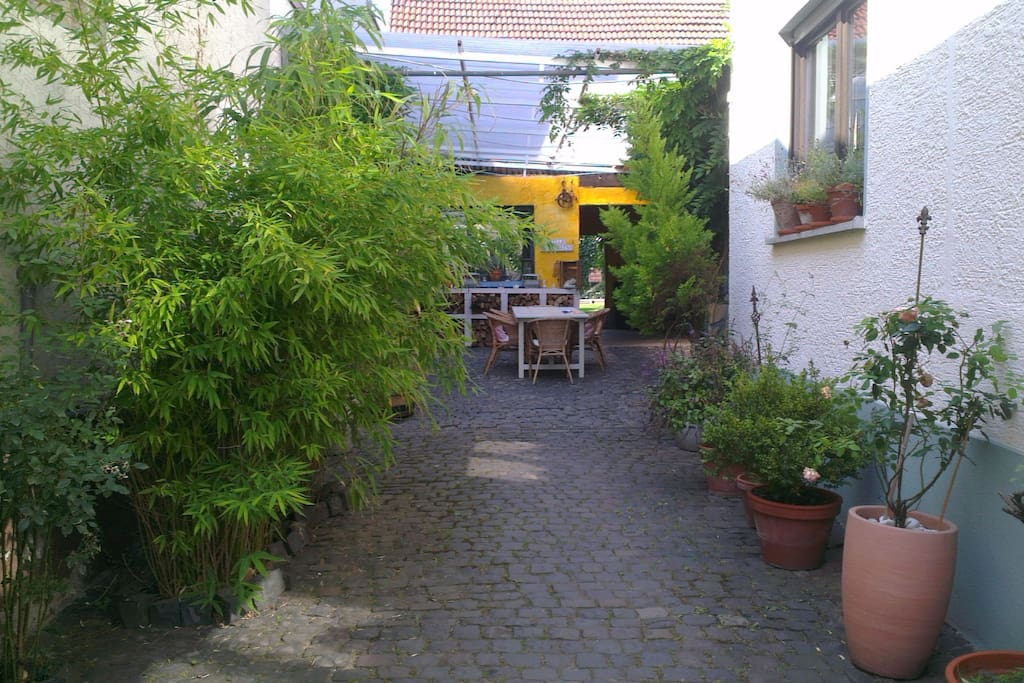 Main access from the (street) front gate to the Loft