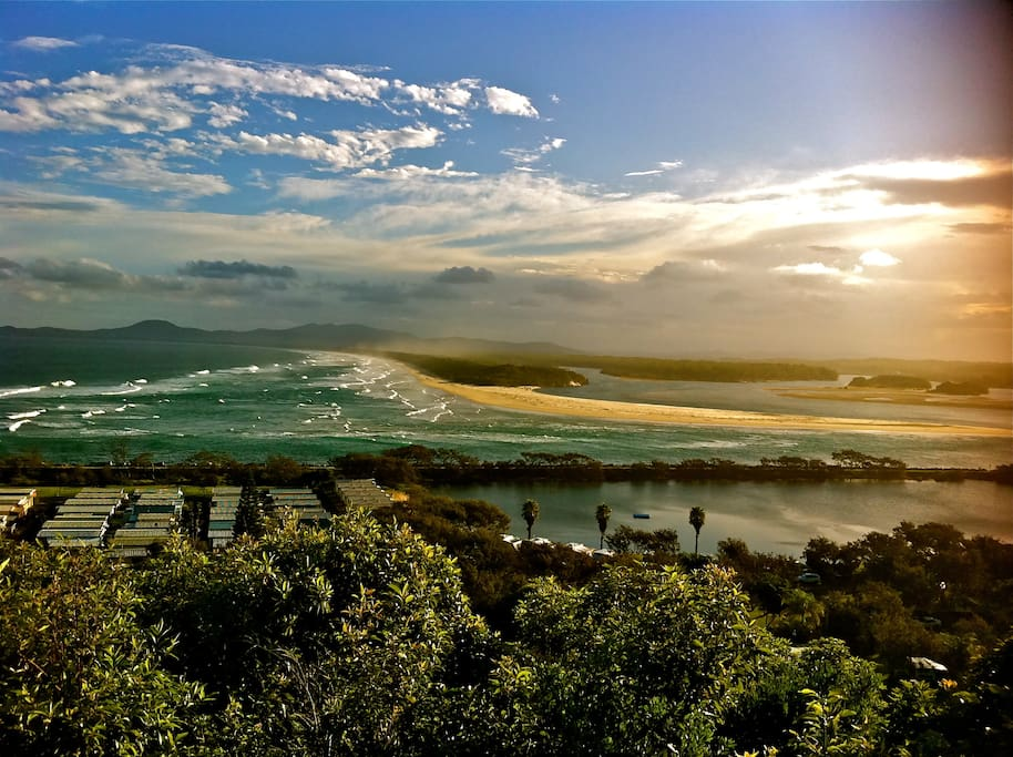 the view from Captain Cook lookout where the Nambucca River enters the Pacific Ocean