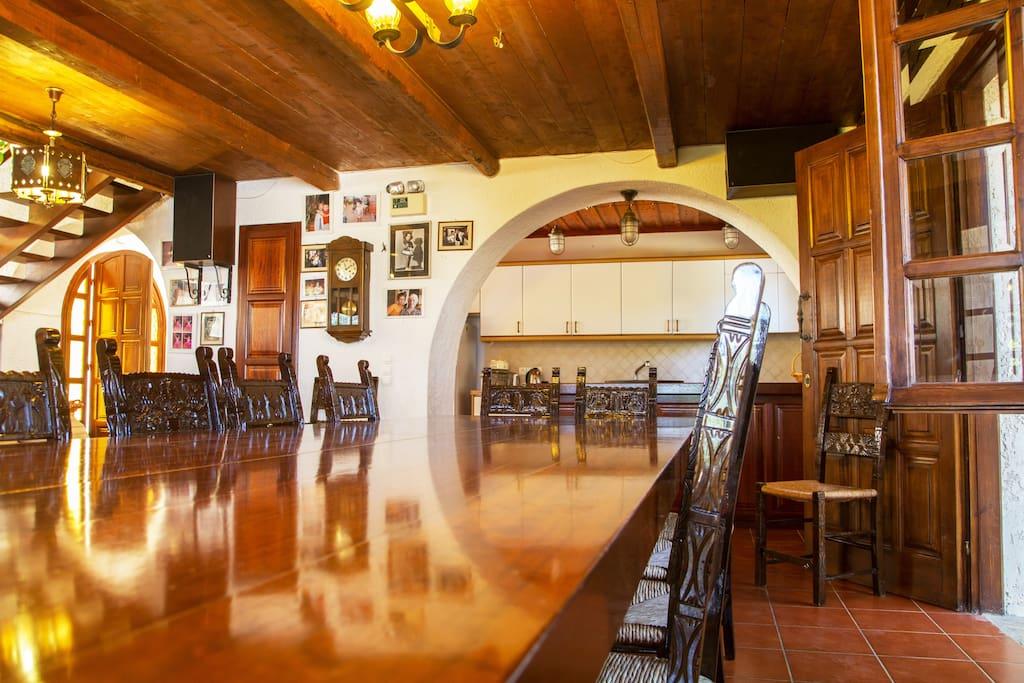 Solid Oak Huge  Table to enjoy tasty Mediterranean cusine in good company