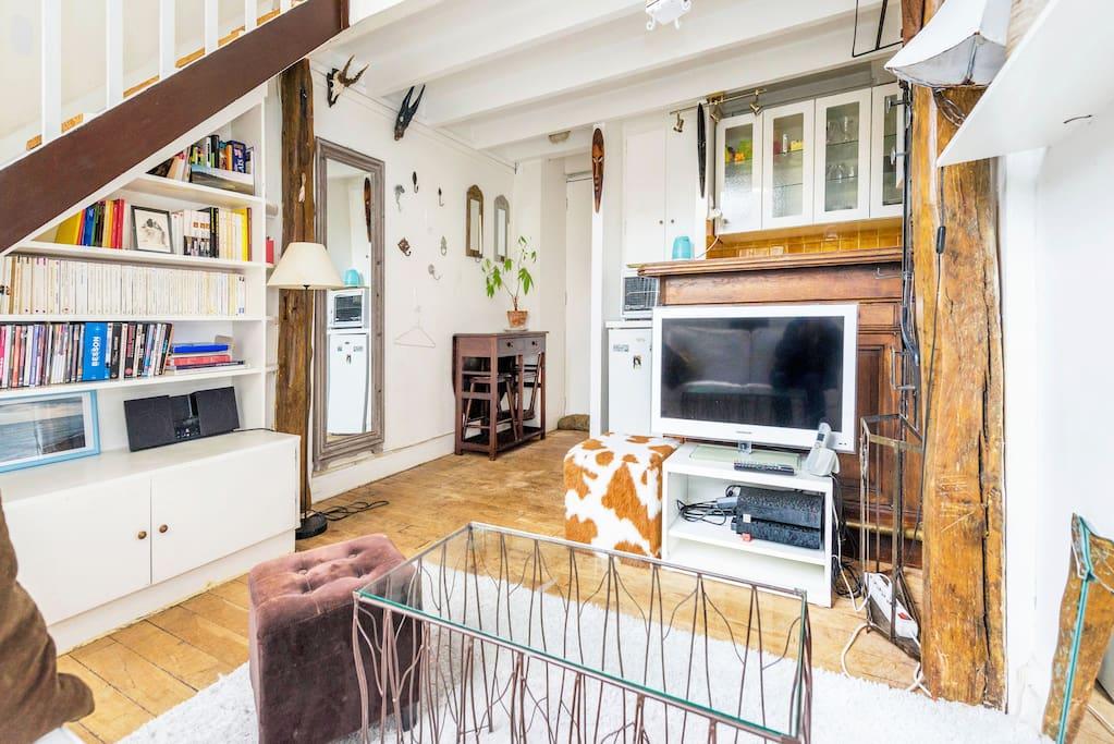 Wooden floor; TV