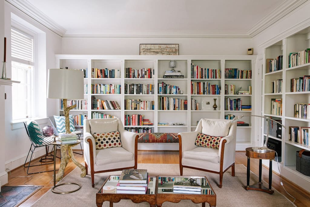 The library at Snug Harbor House. A reader's paradise.