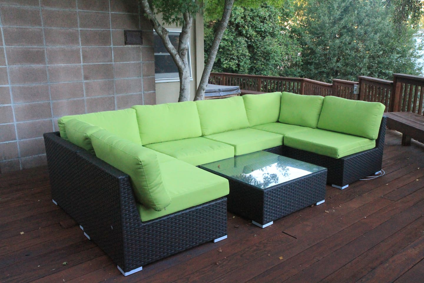 Enjoy outdoor seating on the deck.