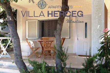 Villa Herceg - Maslina 2+2  First row to the beach - Mandre