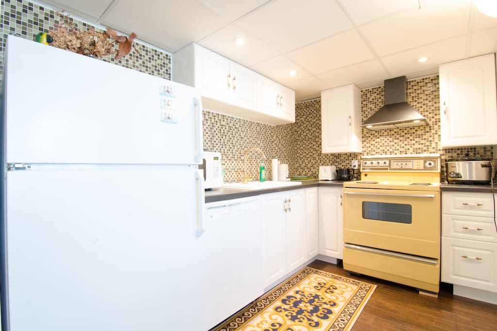 Well equipped kitchen has dishwasher, hood fan, MW, pot/pans, dishes etc for your daily meals