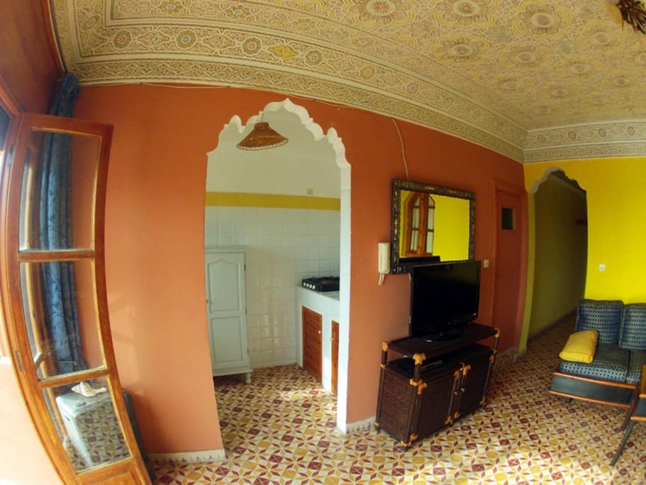 Apartment is decorated in traditional, Moroccan style.