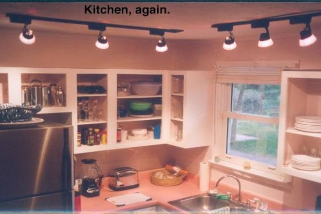Kitchen w/ view of back yard.