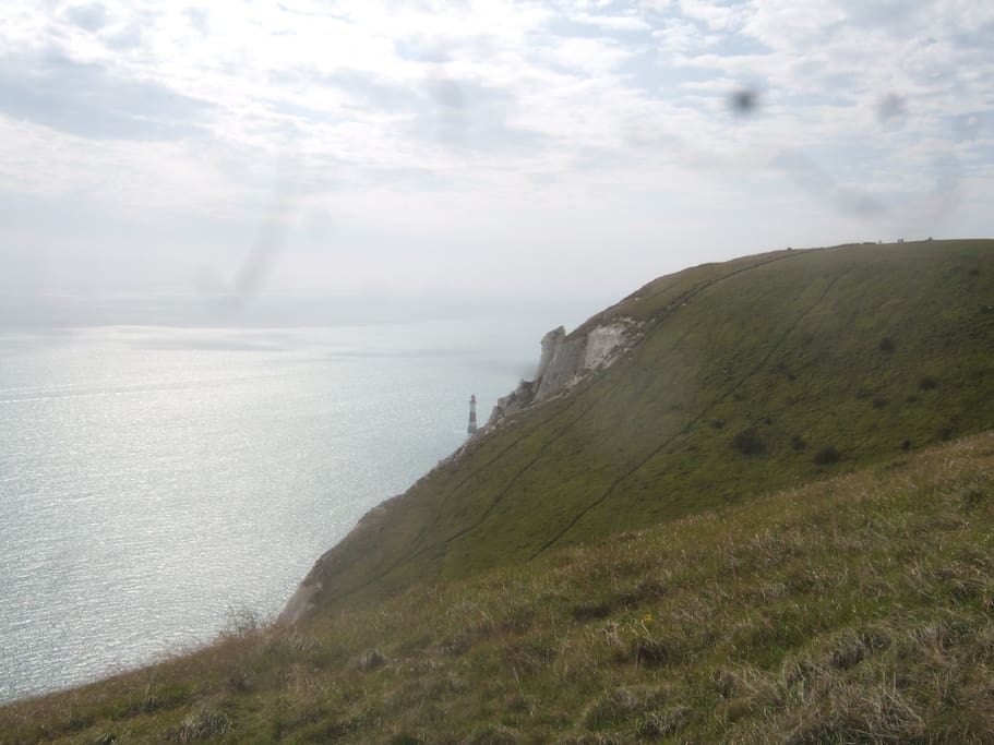 Beachy Head Light house and cliffs.