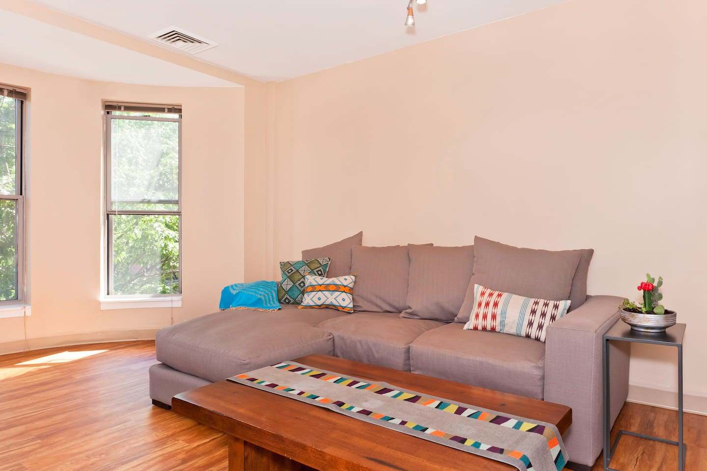 Sunny an spacious with comfy brand new sofa for lounging