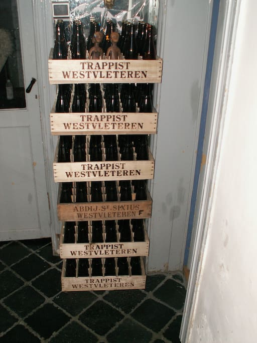 one of the first impressions when you enter the house, home-brewed beer in trappist crates...