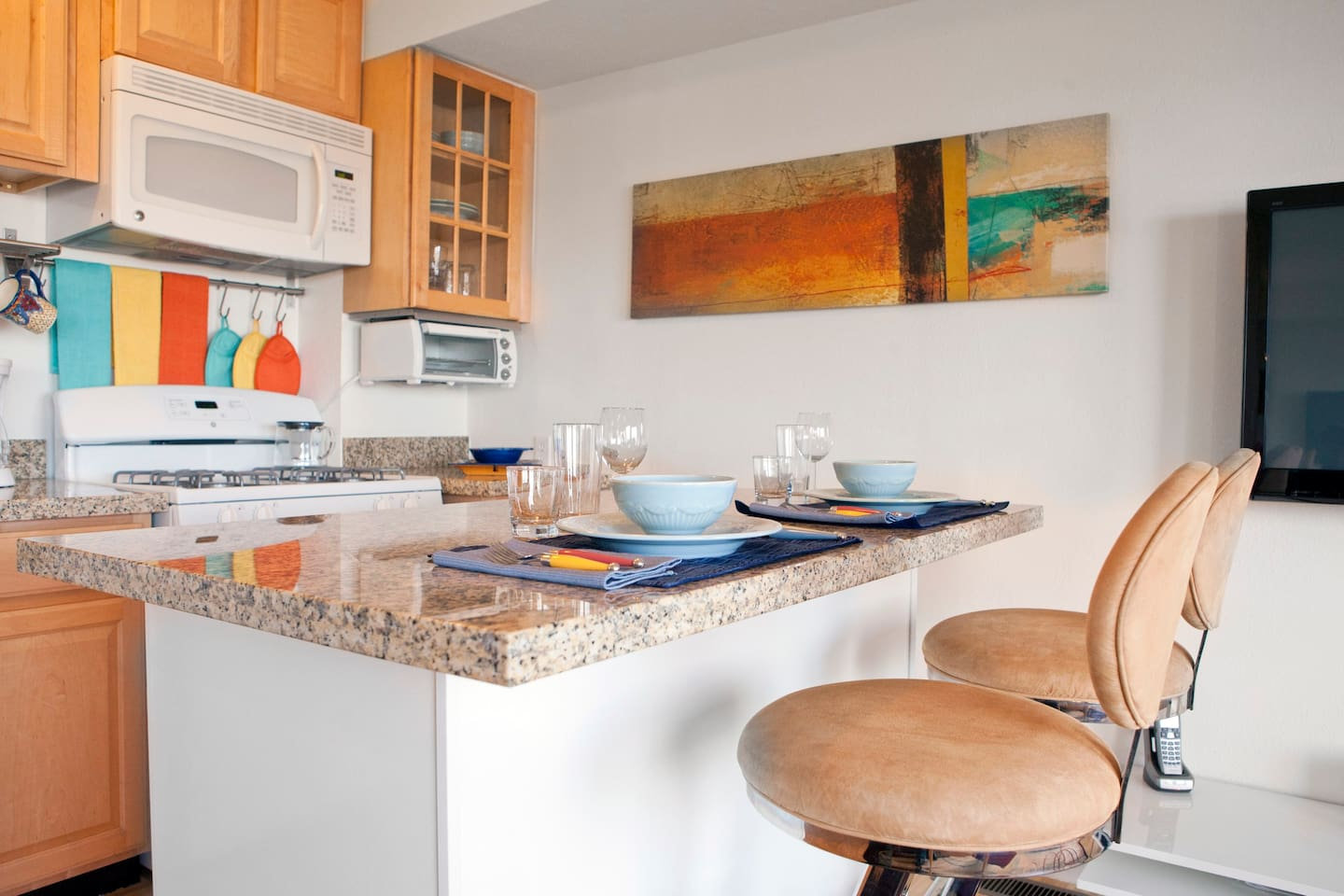 Newly remodeled kitchen with new appliances.  Fully equipped with cooking and dining ware.