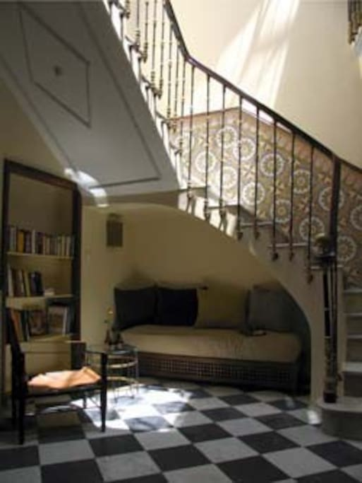 The marble staircase brings you to the first floor.