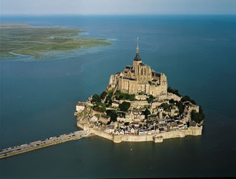 Le Mont St Michel from the air.