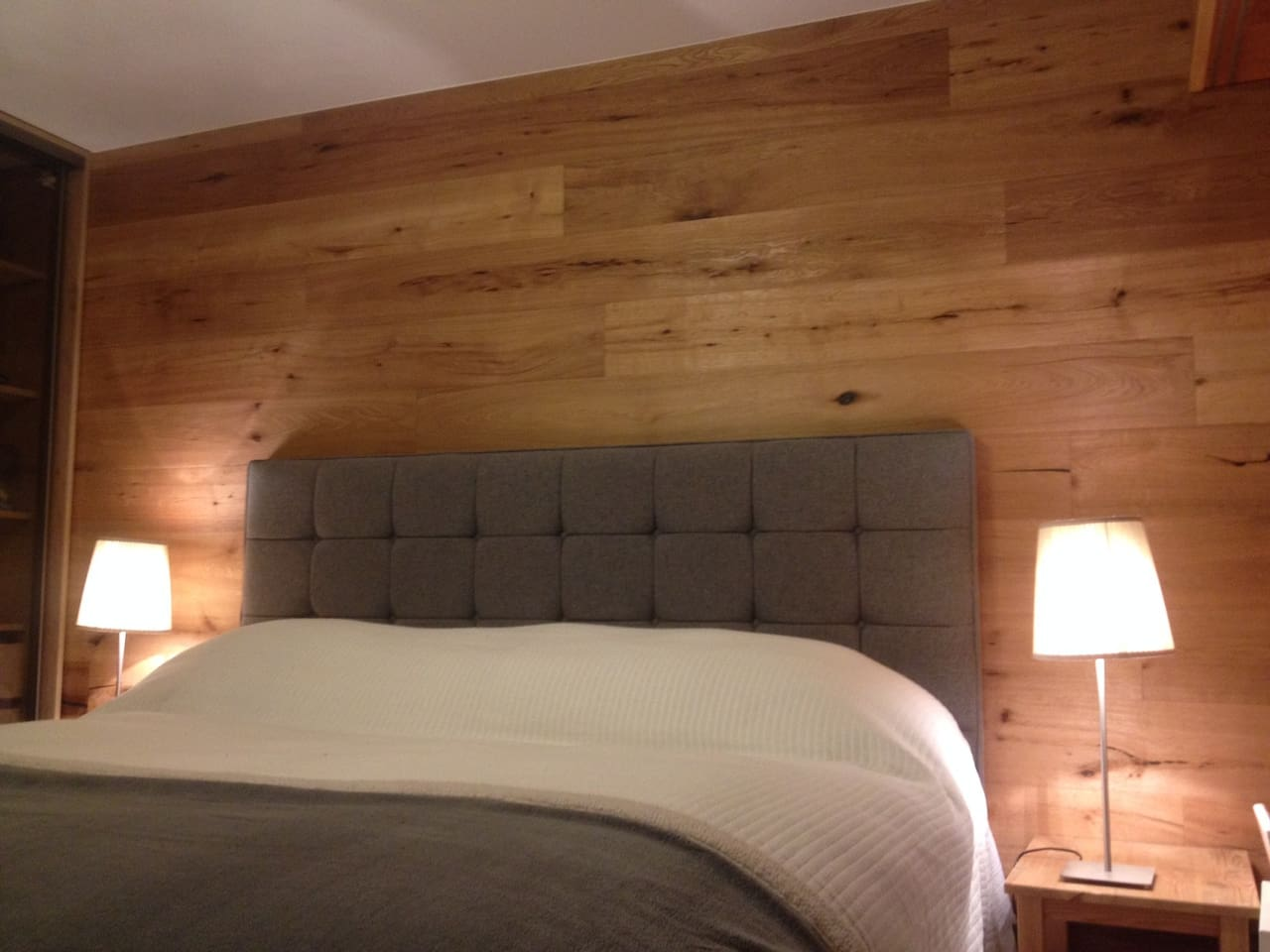 Double / twin master bedroom on ground floor with views of the alps