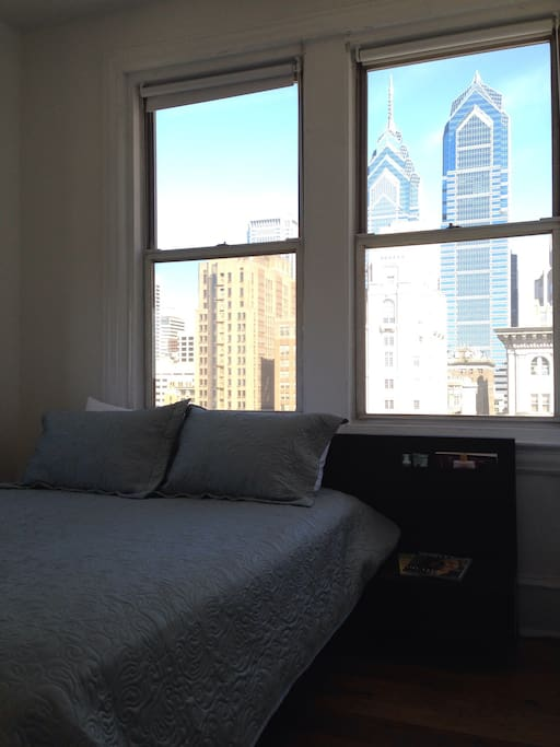 Your bedroom, with views of the Philly skyline and South Philly