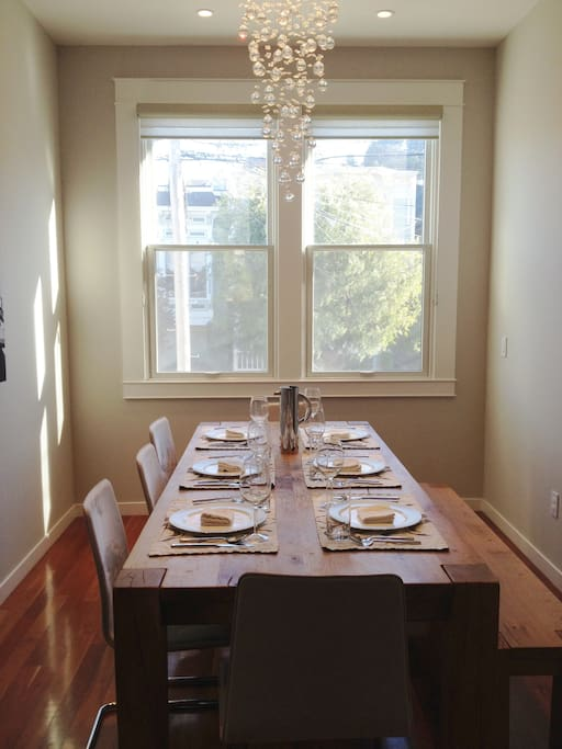 Large dining table seats up to 10 guests