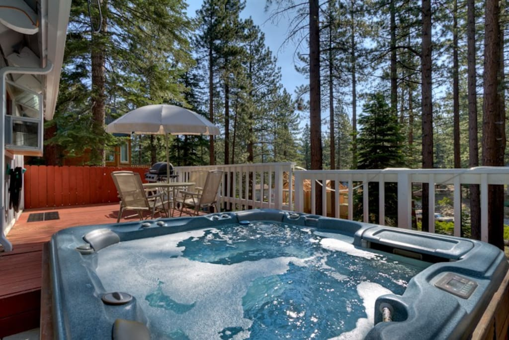 The 6 person private sundance spa is great for relaxing under the Tahoe stars!
