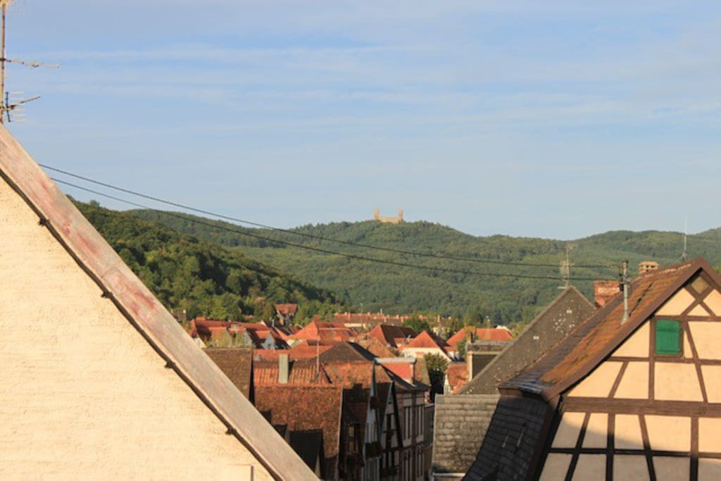 View from the bedroom window. The Chateau d'Andlau can be seen in the distance.