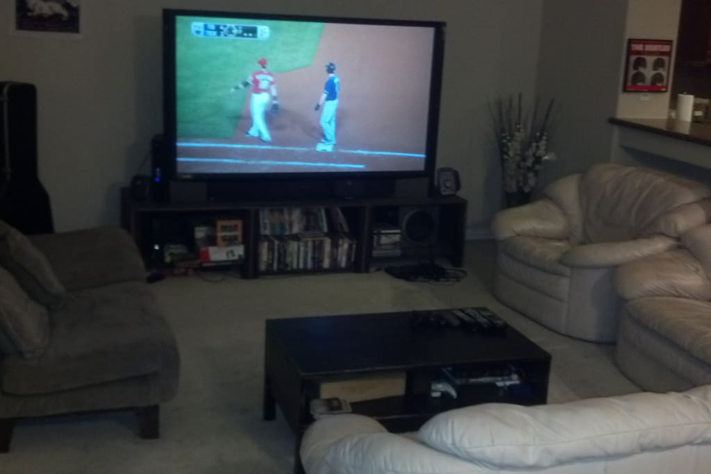 """73"""" HD TV with Cable & HBO, as well as Netflix, HBO Go, and Xbox 360"""