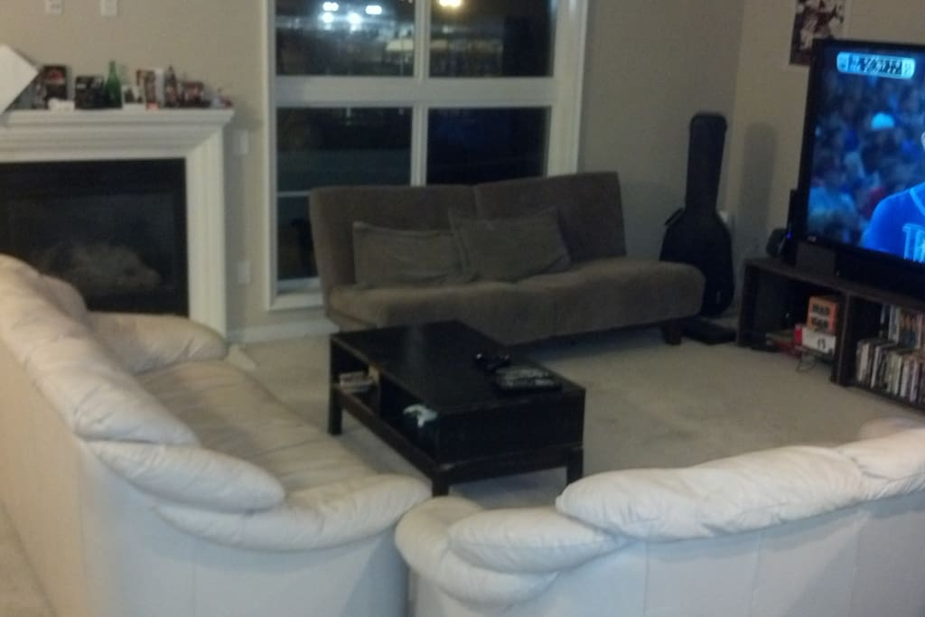 Fireplace, Italian leather couches