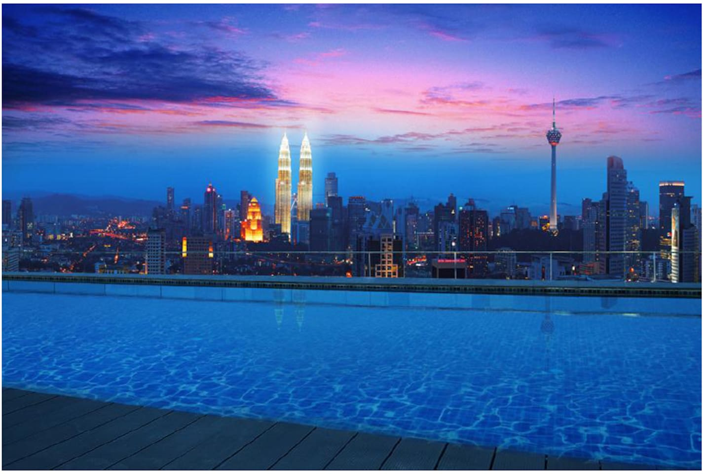 Condo has two pool, this one is most famous one, named Infinity pool which is located at rooftop, with KLCC view.