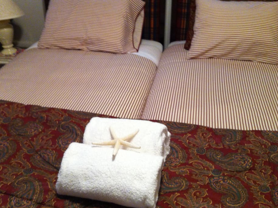 Fine linens and fluffy towels provided
