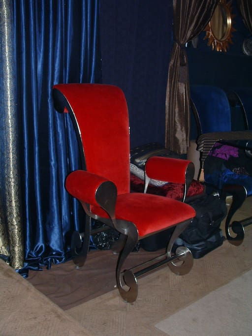 Head Chair for the Mad Hatters Table.  The Red & Blue are much more elegant deep & lushes than the picture portrays.