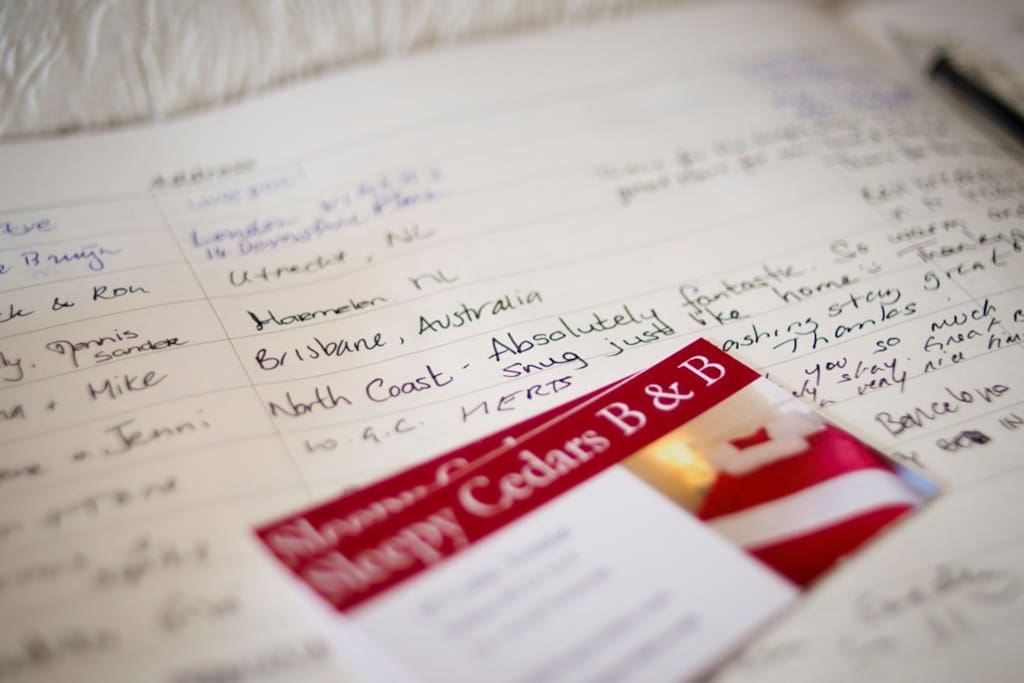 Our wonderful guests book with guest names form around the world. Great memories.
