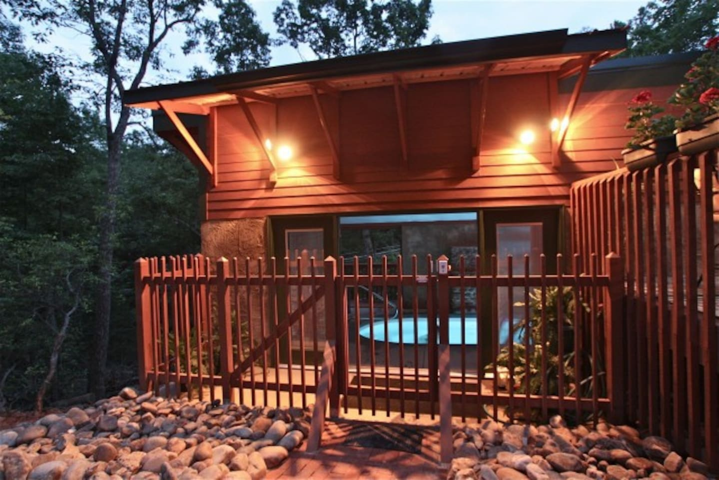 Indoor Pool House Lights are on dimmers in & out
