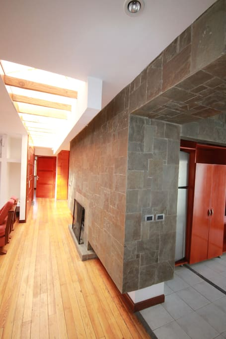 Modern design including fire place, skylights, pine floors, and a new fridge.