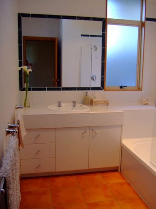 This bathroom is for your exclusive use and is fresh and roomy