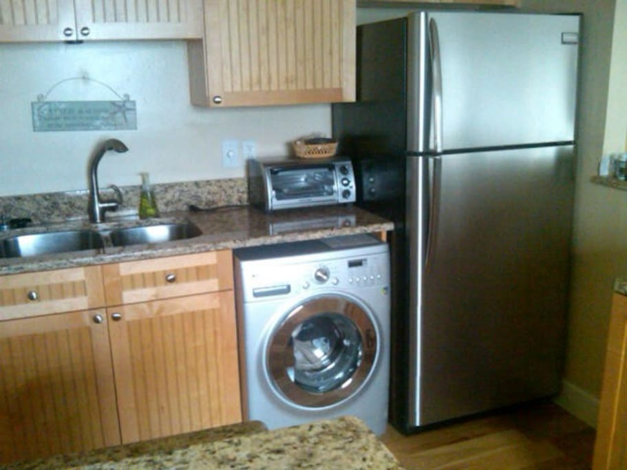 new stainless fridge and european washer-dryer combo.