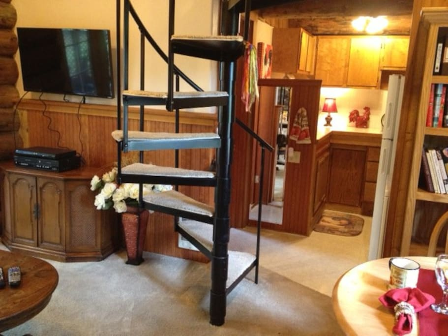 Warm and cozy, this cabin is the perfect get-away. Selection of books, DVDs, satellite TV, and WIFI make this a comfy yet practical destination after touring the wine country or going to a Duck Football game.