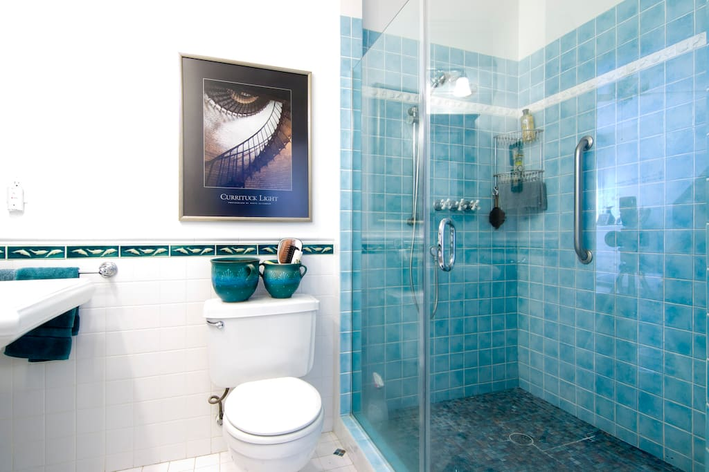 The large shower has shower heads at both ends -- very refreshing!