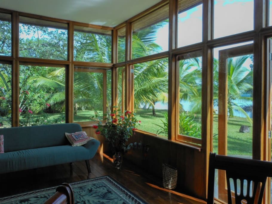 The glass fronted living room.  Come rain or shine, you'll have a wonderful space to enjoy.