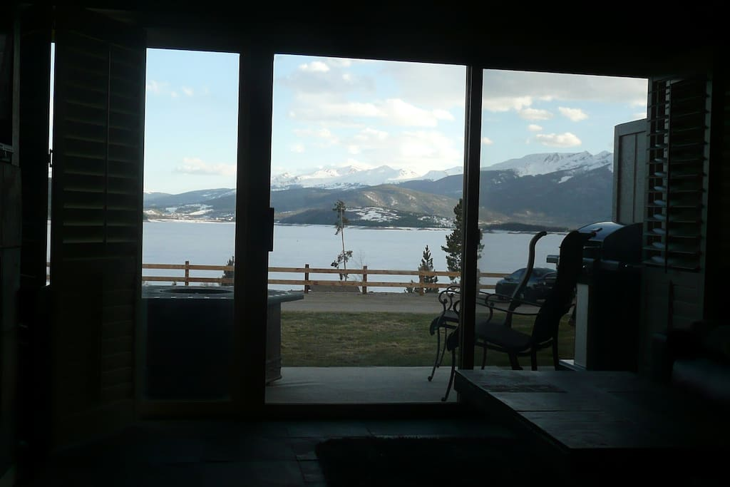 Lake and mountain views from the living room.