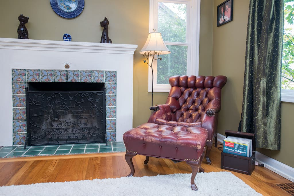 Our cozy living room, complete with Jade's grandfather's mid-20th century lounge chair.