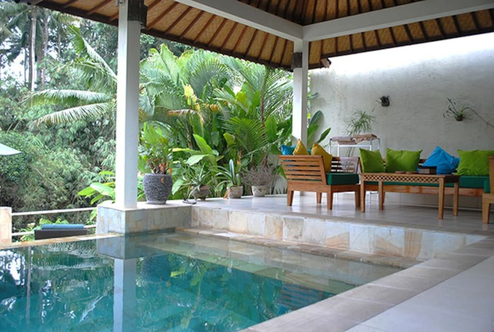 The pool beside the living area invites you in.