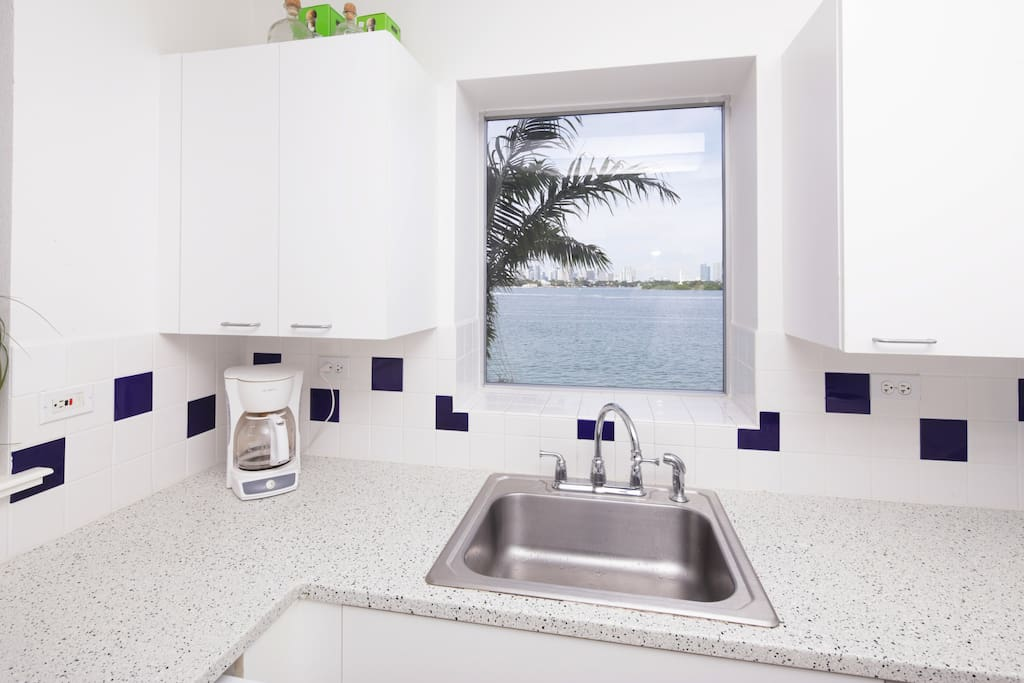NOTICE THE MIAMI SKYLINE THROUGH THE KITCHEN WINDOW